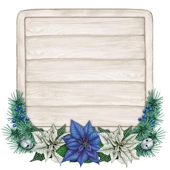 Aquarel hand getekende blauwe poinsettia tekstruimte op armoedig houten bord