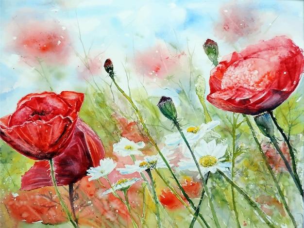 Aquarel hand getekende bloem schilderij