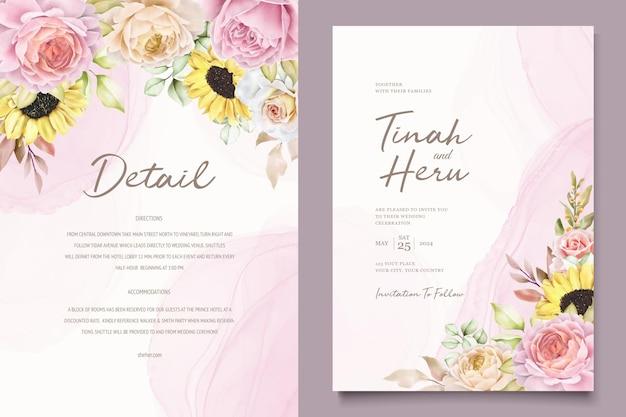 Aquarel hand getekende bloemen met prachtige kleuren uitnodigingskaarten set