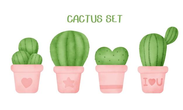 Aquarel hand getekende cactus set.