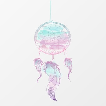Aquarel hand getekende dreamcatcher