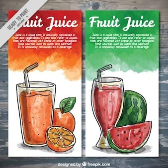 Aquarel hand getekende fruite sap brochures
