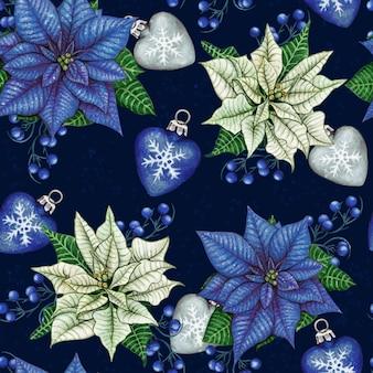 Aquarel hand getekende poinsettia kerst naadloze patroon