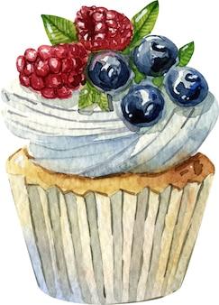 Aquarel hand getekende taart illustratie. room, chocolade en bessen. zoet dessert.