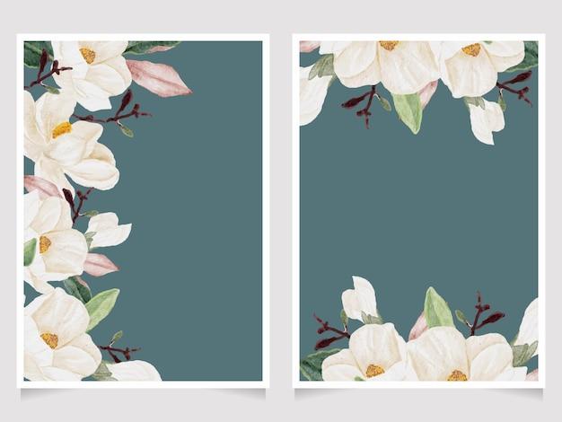 Aquarel hand getekende witte magnolia bloem en groene blad tak boeket bruiloft uitnodiging kaartsjabloon collectie