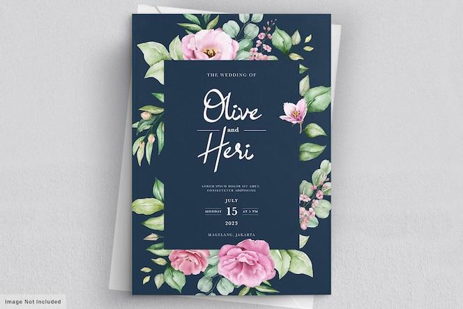 Aquarel hand getrokken bloemen bruiloft uitnodiging kaartsjabloon