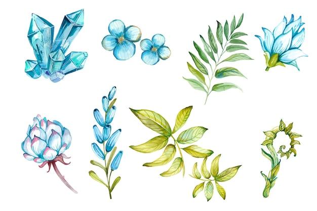 Aquarel hand getrokken bloemen en edelstenen set