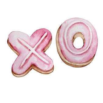 Aquarel hand getrokken dessert bakken letter xo geïsoleerd op een witte achtergrond voor ontwerptekst, label, valentijnsdag.