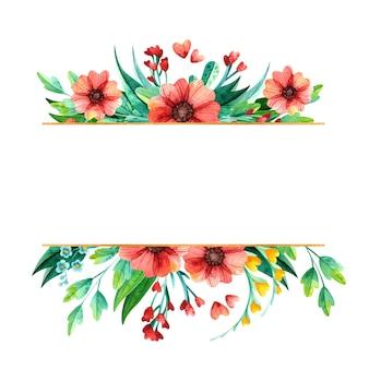 Aquarel hand getrokken lentebloemen - leeg gouden frame.