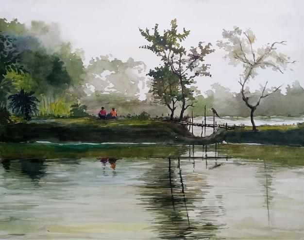 Aquarel hand getrokken rivier en de dorps natuur landschap illustratie
