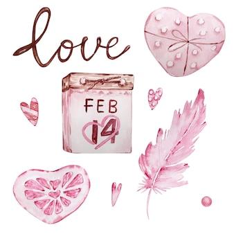 Aquarel hand getrokken set roze kalenders, veren en zoete harten geïsoleerd op een witte achtergrond