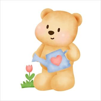 Aquarel hand getrokken teddybeer.