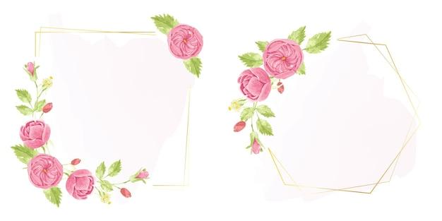 Aquarel hand tekenen roze engelse roos krans met geometrische gouden frame-collectie