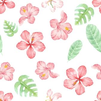 Aquarel hand tekenen zomer rode hibiscus bloemen naadloze patroon