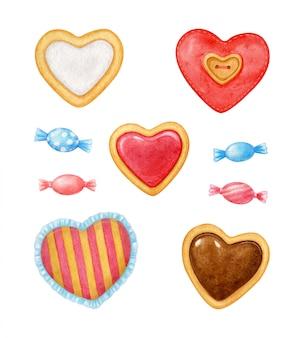 Aquarel handgemaakte ambachten voor valentijnsdag geschenk