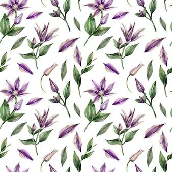 Aquarel handgeschilderd naadloos patroon met paarse bloemen