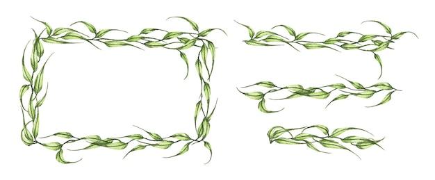 Aquarel handgeschilderde banner met groene bladeren en takken.
