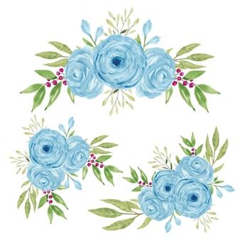 Aquarel handgeschilderde blauwe roos bloemboeket collectie