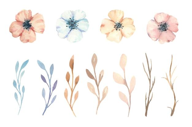 Aquarel handgeschilderde boho bloemen, bladeren en takken.