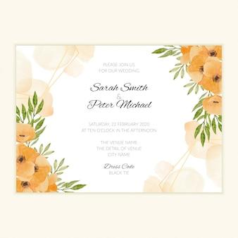 Aquarel handgeschilderde bruiloft uitnodigen kaart met florale frame