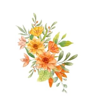 Aquarel handgeschilderde gele bloemen boeket