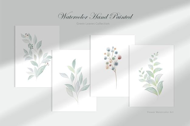 Aquarel handgeschilderde groene blad collectie