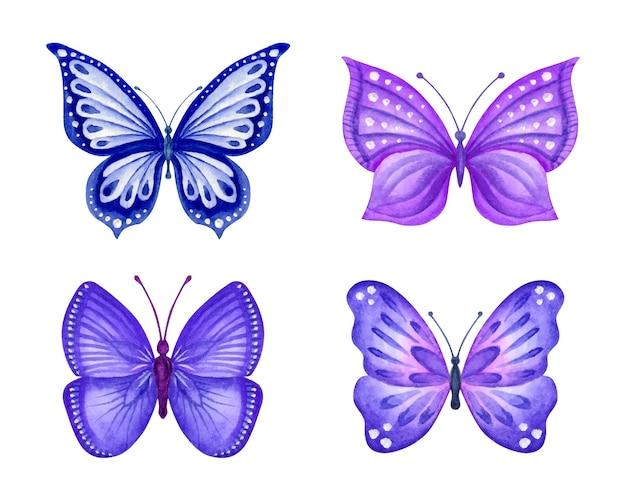 Aquarel handgeschilderde lente vlinders set collectie