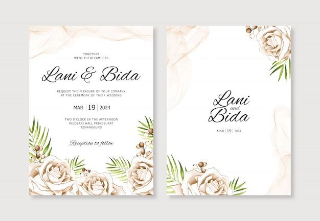 Aquarel handgeschilderde mooie bloem voor bruiloft uitnodiging sjabloon
