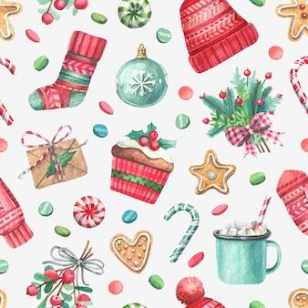 Aquarel handgeschilderde naadloze patroon met illustraties van kerstmis.