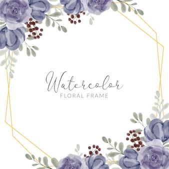 Aquarel handgeschilderde rustieke paarse roos bloemen framerand