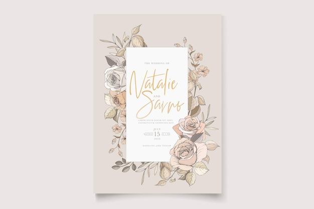 Aquarel handgetekende bloemen en bladeren kaartenset