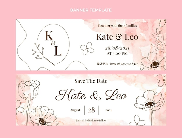 Aquarel handgetekende bruiloft banners horizontaal