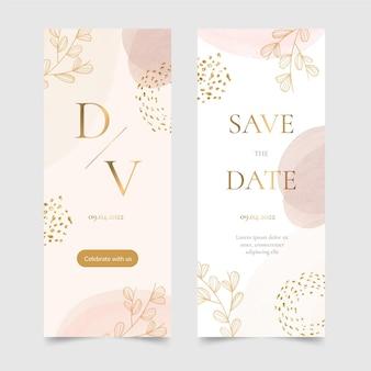 Aquarel handgetekende bruiloft banners verticaal