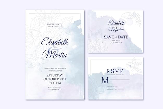 Aquarel handgetekende bruiloft briefpapier collectie
