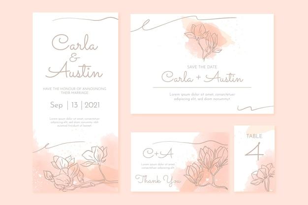 Aquarel handgetekende bruiloft briefpapier sjabloon