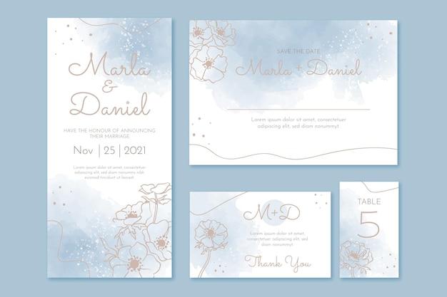 Aquarel handgetekende bruiloft briefpapier