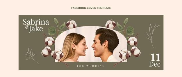 Aquarel handgetekende bruiloft facebook cover