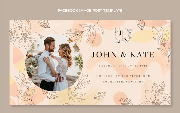 Aquarel handgetekende bruiloft facebook post