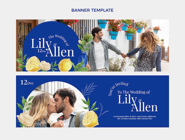Aquarel handgetekende bruiloft horizontale banners