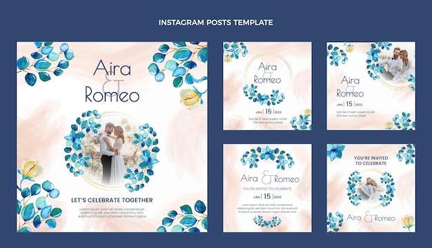 Aquarel handgetekende bruiloft ig post