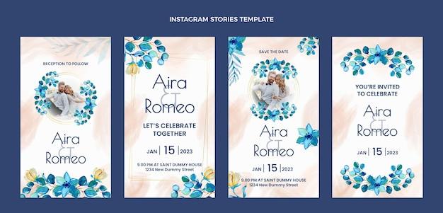 Aquarel handgetekende bruiloft ig verhalen