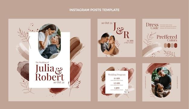 Aquarel handgetekende bruiloft instagram posts