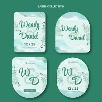 Aquarel handgetekende bruiloft label