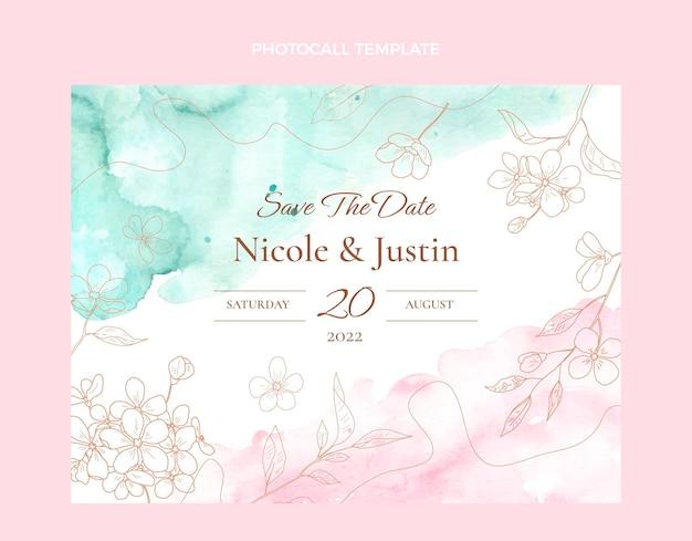 Aquarel handgetekende bruiloft photocall sjabloon