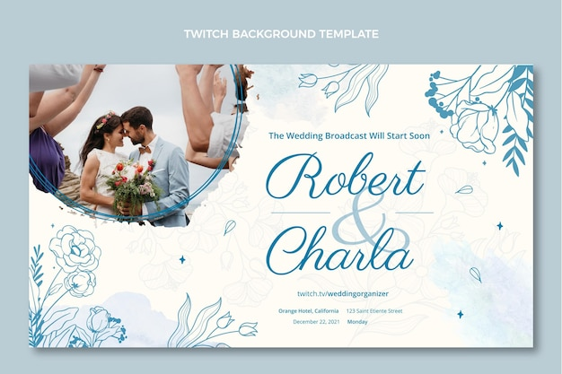 Aquarel handgetekende bruiloft twitch achtergrond