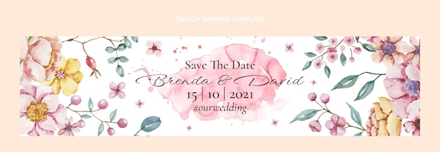 Aquarel handgetekende bruiloft twitch banner