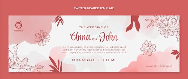 Aquarel handgetekende bruiloft twitter header