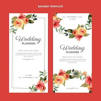 Aquarel handgetekende bruiloft verticale banners