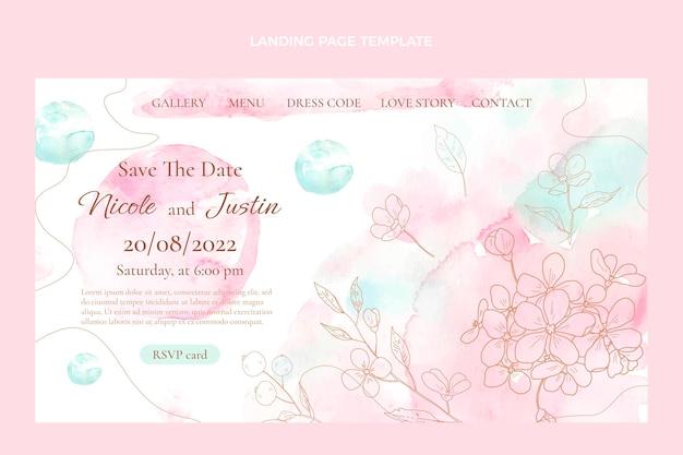 Aquarel handgetekende bruiloft websjabloon