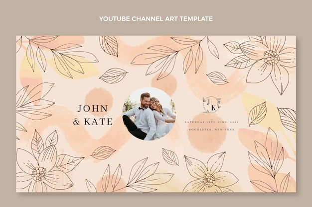 Aquarel handgetekende bruiloft youtube channel art